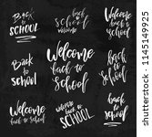 welcome back to school chalk... | Shutterstock .eps vector #1145149925