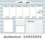 empty weekly planner with water ... | Shutterstock .eps vector #1145153192