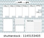 empty weekly planner with water ... | Shutterstock . vector #1145153405