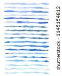 set of blue watercolor lines... | Shutterstock . vector #1145154812