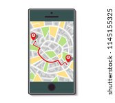 mobile phone with a map of the... | Shutterstock .eps vector #1145155325