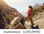 hiker man healthy outdoor...   Shutterstock . vector #1145159492