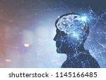 glowing brain hologram inside a ... | Shutterstock . vector #1145166485