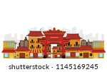 china town in asian and old... | Shutterstock .eps vector #1145169245