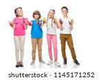 friends showing painted hands... | Shutterstock . vector #1145171252