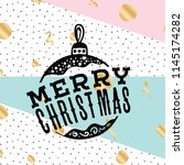 merry christmas. typography.... | Shutterstock .eps vector #1145174282