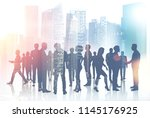 silhouettes of business people... | Shutterstock . vector #1145176925