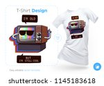 very old tv t shirt design.... | Shutterstock .eps vector #1145183618