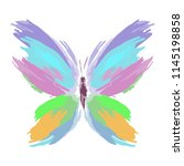 butterfly from color splashes... | Shutterstock .eps vector #1145198858