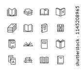 books flat line icons. reading  ... | Shutterstock .eps vector #1145208965
