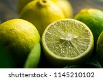 close up shot of lime half... | Shutterstock . vector #1145210102