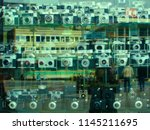 a blurred showcase of vintage...   Shutterstock . vector #1145211695