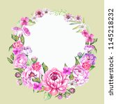 watercolor frame with pink... | Shutterstock . vector #1145218232