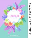 tropical poster with palm... | Shutterstock .eps vector #1145221715