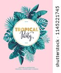 tropical party invitation with... | Shutterstock .eps vector #1145221745