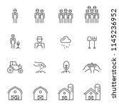 barn line icons set vector... | Shutterstock .eps vector #1145236952