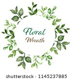 botanical wreath of green... | Shutterstock . vector #1145237885