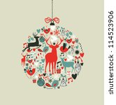 christmas decorations icons on... | Shutterstock .eps vector #114523906