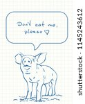 talking pig with text in speech ... | Shutterstock .eps vector #1145243612