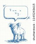 talking pig sniffs speech...   Shutterstock .eps vector #1145243615