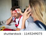 a woman with smartphone helping ... | Shutterstock . vector #1145249075