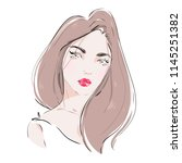 beautiful girl with red lips... | Shutterstock .eps vector #1145251382