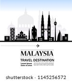 travel to malaysia vector | Shutterstock .eps vector #1145256572