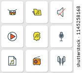 audio icons colored line set... | Shutterstock . vector #1145258168