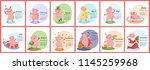 pig calendar for 2019. cute... | Shutterstock .eps vector #1145259968