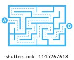 Stock vector illustration with simple labyrinth maze conundrum for kids baby puzzle with entry and exit 1145267618