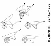 wheelbarrow multiple views and... | Shutterstock .eps vector #1145274188