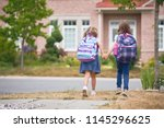 pupils of primary school. girls ... | Shutterstock . vector #1145296625