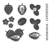 set of silhouette strawberry on ...   Shutterstock .eps vector #1145305265