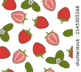 seamless pattern with berries...   Shutterstock .eps vector #1145305268