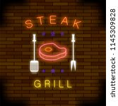 steak grill neon colorful sign... | Shutterstock . vector #1145309828