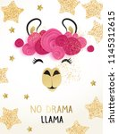 cute llama vector design with... | Shutterstock .eps vector #1145312615