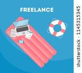 freelance concept. working... | Shutterstock .eps vector #1145315345