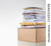 big stack of mail  pile of paper | Shutterstock . vector #1145319698