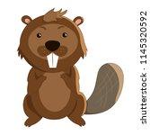 Cute Cartoon Beaver In Flat...