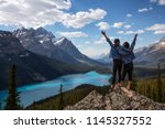 couple female friends are... | Shutterstock . vector #1145327552