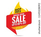 sale banner red  hot price | Shutterstock .eps vector #1145328092