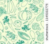 vegetable vector seamless... | Shutterstock .eps vector #1145332775