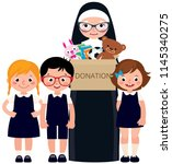 christian nun and children... | Shutterstock .eps vector #1145340275