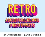 3 dimension  3d retro... | Shutterstock .eps vector #1145344565