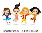 cheerful girlfriends in a jump... | Shutterstock .eps vector #1145348255