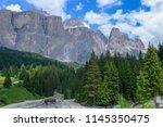 plattkofel and langkofel... | Shutterstock . vector #1145350475