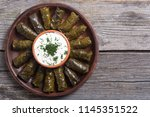 dolma from grape of vines with... | Shutterstock . vector #1145351522