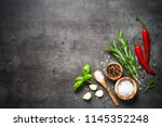 selection of spices herbs and... | Shutterstock . vector #1145352248