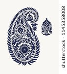 set of 2 paisley elements.... | Shutterstock .eps vector #1145358008