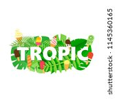 word tropic composition with... | Shutterstock .eps vector #1145360165